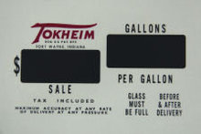 TOKHEIM VINYL FACE PLATE DECAL GAS PUMP ADV AD DECOR T