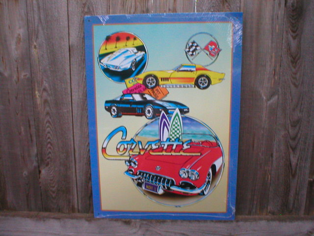CHEVROLET CORVETTE COLLAGE TIN SIGN