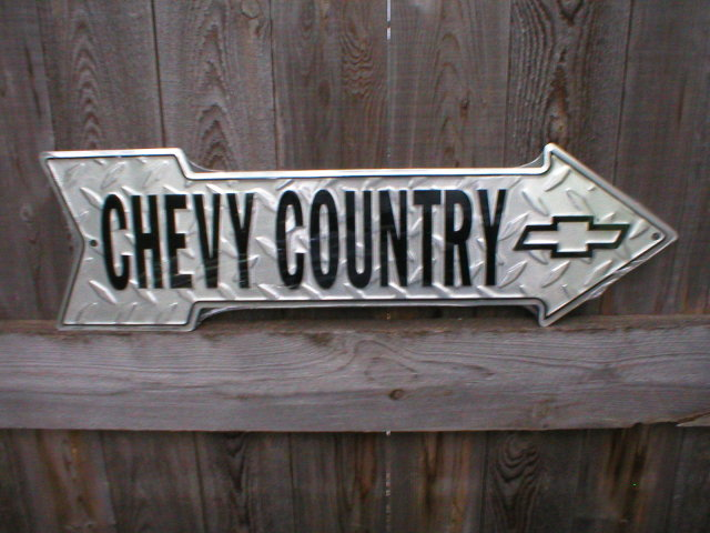 CHEVY COUNTRY ARROW  SIGN RETRO METAL ADV SIGNS F