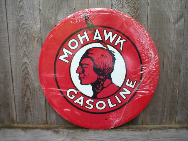 MOHAWK GASOLINE TIN METAL SIGN