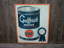 GULFPRIDE MOTOR OIL TIN SIGN METAL GAS OIL SIGNS G