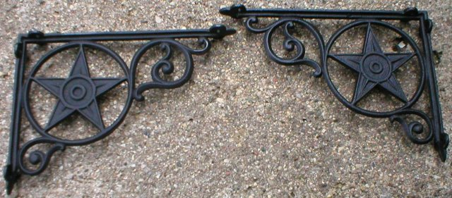 ONE SET CAST IRON STAR SHELF BRACKETS OFFICE DECOR S