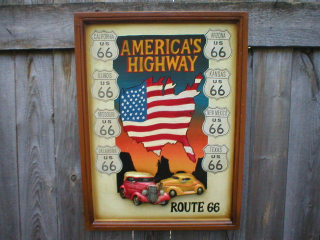 AMERICA'S HIGHWAY ROUTE 66 WOOD SIGN