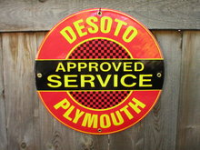 DESOTO PLYMOUTH PORCELAIN-COATED RETRO ADV SIGN C