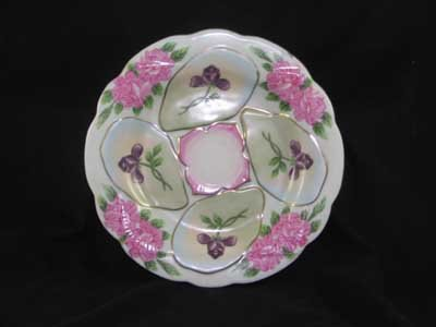 PORCELAIN OYSTER PLATE PURPLE FLOWER WELLS O