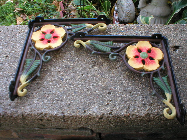 ONE PAIR CAST IRON HAND PAINTED FLOWER SHELF BRACKETS