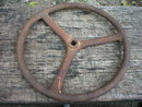 OLD CAST IRON STEERING WHEEL COLLECTOR IRONWARE T