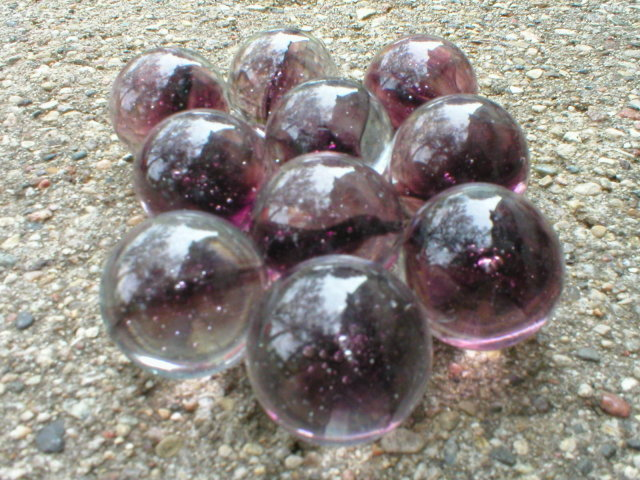 AMETHYST CAT EYE SHOOTER MARBLES TWO POUNDS ONE INCH