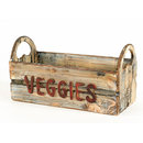 WEATHERED FINISH WOOD BASKET BOX HOME DECOR