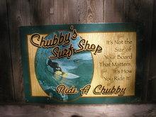CHUBBY'S SURF SHOP TIN SIGN METAL RETRO ADV SIGNS M