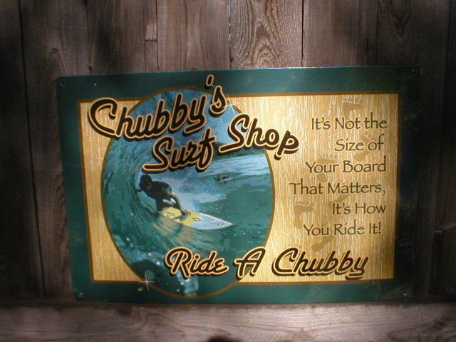 CHUBBY'S SURF SHOP TIN SIGN METAL RETRO ADV SIGNS M