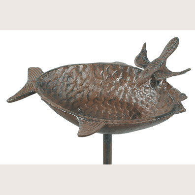 CAST IRON FISH SHAPED FEEDER GARDEN STAKE F