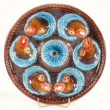 COLORFUL MAJOLICA OYSTER PLATE O