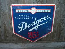 DODGERS 1955 WORLD CHAMPIONS TIN SIGN RETRO ADV SIGNS
