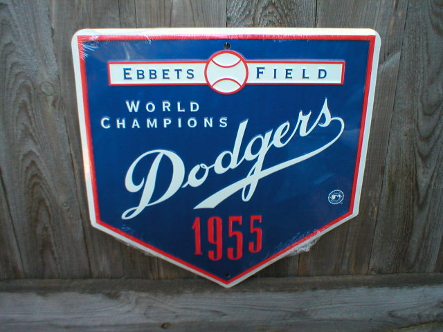 DODGERS 1955 WORLD CHAMPIONS TIN SIGN RETRO ADV SIGNS