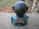 BLACK MAN WITHOUT HAT MECHANICAL BANK CAST IRON BANKS J