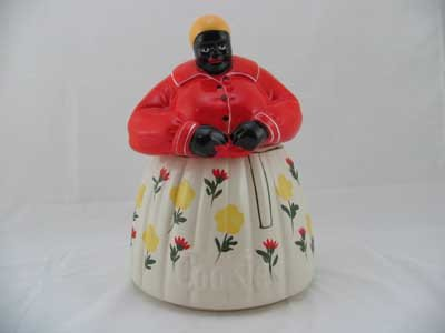 PORCELAIN MAMMY COOKIE JAR FLOWERED SKIRT