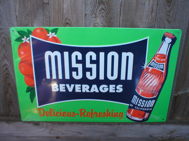 MISSION BEVERAGES  RETRO METAL TIN SIGN