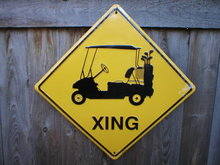 GOLF CART XING ALUMINUM SIGN RETRO METAL ADV SIGNS