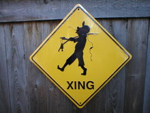 FISHERMAN XING ALUMINUM SIGN RETRO METAL ADV SIGNS