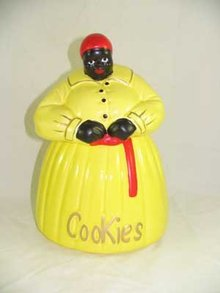 HAND PAINTED PASTEL YELLOW MAMMY COOKIE JAR G