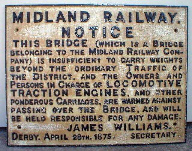 MIDLAND RAILWAY NOTICE SIGN CAST IRON