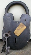IRON PADLOCK BRASS KEYHOLE COVER LARGE