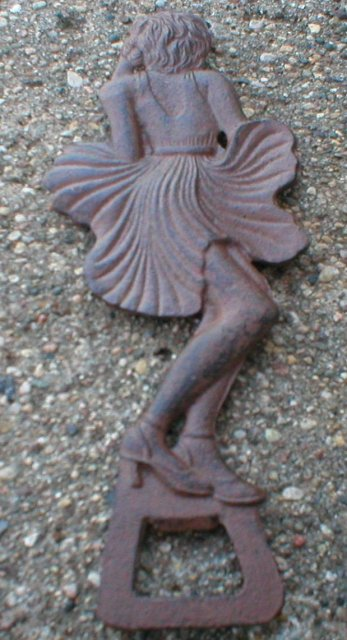 FAN LADY BOTTLE OPENER CAST IRON NAKED WOMAN O