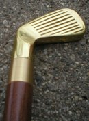 GOLF FLASK CANE WALKING STICK  BRASS HANDLE B