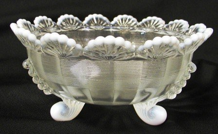 KLONDYKE FOOTED BOWL FRENCH OPALESCENT