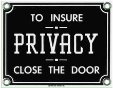 PRIVACY SIGN PORCELAIN COAT ADV RETRO SIGNS P
