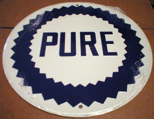 PURE OIL TIN SIGN METAL ADV AD SIGNS E
