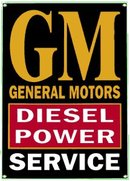 GM DIESEL POWER SERVICE PORCELAIN COATED SIGN METAL ADV AD SIGNS