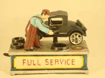 FULL SERVICE MECHANICAL BANK CAST IRON