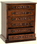 SPOOL SEWING WOOD CABINET CHEST 6 FELT LINED DRAWERS