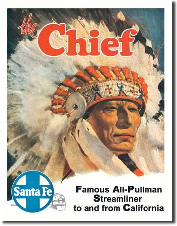 SANTA FE - THE CHIEF - SIGN RETRO METAL ADV SIGNS