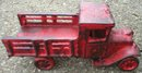 RED PICKUP CAST IRON DECOR