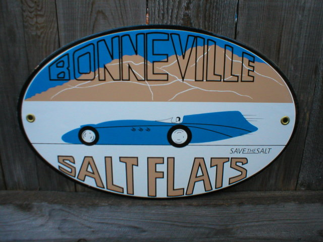 BONNEVILLE SALT FLATS PORCELAIN COAT SIGN RETRO ADV SIGNS