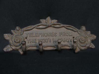 TELEPHONES ROSE COATRACK WALL HANGER CAST IRON DECOR