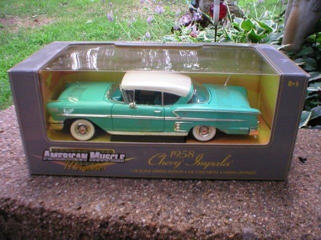 1958 1:18 GREEN CHEVROLET IMPALA 2 DOOR HARDTOP ERTL AMERICAN MUSCLE
