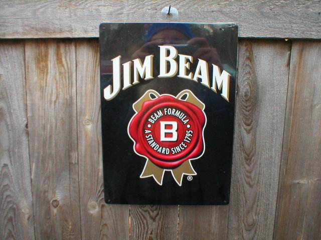 JIM BEAM TIN SIGN METAL ADV SIGNS B