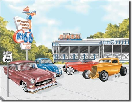 ROUTE 66 DINER TIN SIGN METAL RETRO ADV SIGNS C