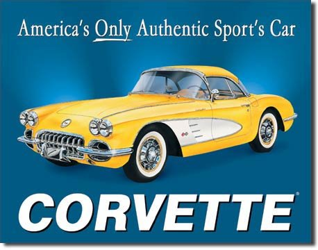 CORVETTE YELLOW RETRO TIN SIGN 1958