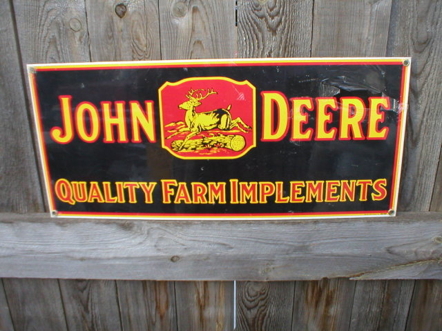 JOHN DEERE QUALITY FARM IMPLEMENTS SIGN METAL ADV SIGNS J