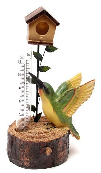 HUMMINGBIRD RAIN GAUGE YARD GARDEN DECOR C