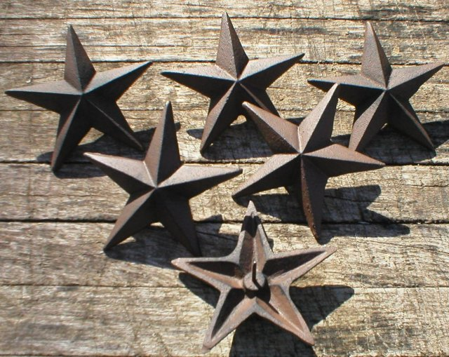6 FIVE INCH NAIL STARS CAST IRON
