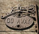 WELCOME-GO AWAY SIGN WALL HANGING BRACKET