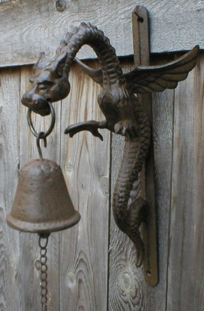 DRAGON BELL WALL MOUNT RUSTIC CAST IRON