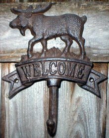 MOOSE WELCOME SINGLE HOOK CAST IRON WALL MOUNT B