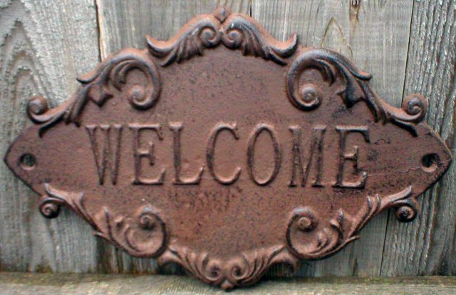 WELCOME SIGN CAST IRON